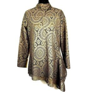 Soft Surroundings S Elyese lace asymmetric taupe